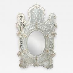 Mid Century Venetian Reverse Eglomise Braided Cartouche Mirror w Murano Florets - 2010081