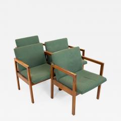 Mid Century Walnut Armchairs Set of 4 - 1877543