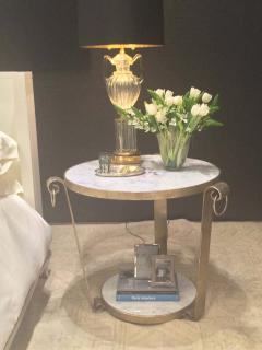 Mid Century Wrought Iron Table in White Gold Leaf and Marble - 1748148
