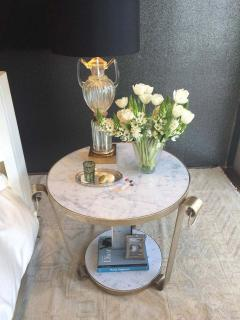 Mid Century Wrought Iron Table in White Gold Leaf and Marble - 1748151