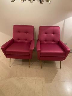 Mid Century pair of Armchairs in fuchsia colour - 1954141