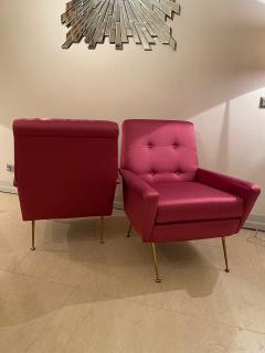 Mid Century pair of Armchairs in fuchsia colour - 1954142