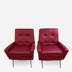 Mid Century pair of Armchairs in fuchsia colour - 1955261