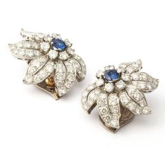 Mid century Sapphire and Diamond Floral Clip Earrings - 190334
