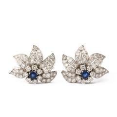 Mid century Sapphire and Diamond Floral Clip Earrings - 190335