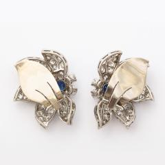 Mid century Sapphire and Diamond Floral Clip Earrings - 190336