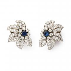 Mid century Sapphire and Diamond Floral Clip Earrings - 190338