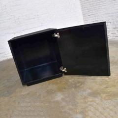 Mid century modern black painted cube cabinet end or side table - 1900260