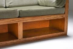 Mid century modern sofa in pitch pine and velvet 1960s - 1320483