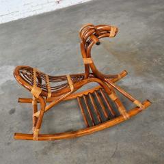 Mid century modern stylized rattan rocking horse - 2066166