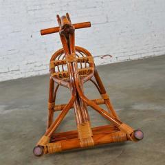 Mid century modern stylized rattan rocking horse - 2066185