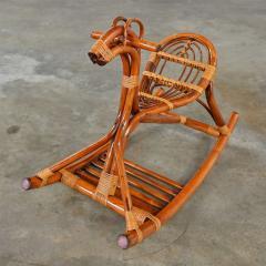 Mid century modern stylized rattan rocking horse - 2066186