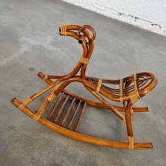 Mid century modern stylized rattan rocking horse - 2066187