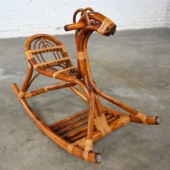 Mid century modern stylized rattan rocking horse - 2066188
