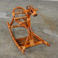 Mid century modern stylized rattan rocking horse - 2066196