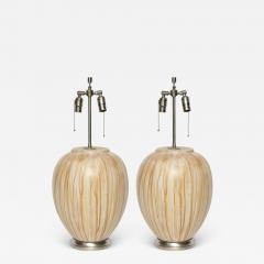 MidCentury Tan Drip Glazed Ceramic Lamps - 1960078