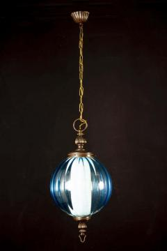 Midcentury Aquamarine Murano Glass Atmosphere Lanterns or Pendants Italy 1950 - 1567799