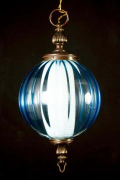 Midcentury Aquamarine Murano Glass Atmosphere Lanterns or Pendants Italy 1950 - 1567801