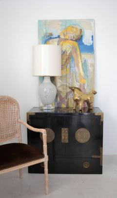 Midcentury Black Lacquered Asian Campaign Chest - 635213