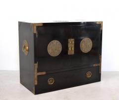 Midcentury Black Lacquered Asian Campaign Chest - 635214