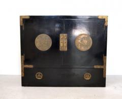 Midcentury Black Lacquered Asian Campaign Chest - 635215