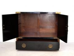 Midcentury Black Lacquered Asian Campaign Chest - 635216