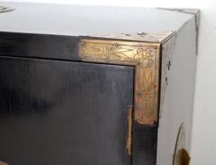 Midcentury Black Lacquered Asian Campaign Chest - 635220