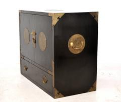 Midcentury Black Lacquered Asian Campaign Chest - 635221