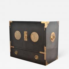 Midcentury Black Lacquered Asian Campaign Chest - 635680