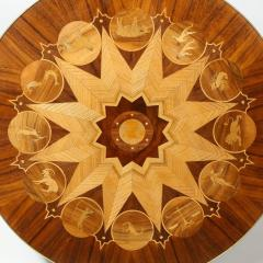 Midcentury Bookmatched Walnut Elm Cocktail Table with Zodiac Themed Marquetry - 1866289