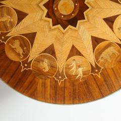 Midcentury Bookmatched Walnut Elm Cocktail Table with Zodiac Themed Marquetry - 1866291