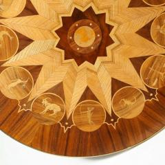 Midcentury Bookmatched Walnut Elm Cocktail Table with Zodiac Themed Marquetry - 1866292
