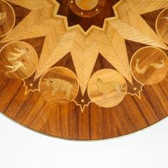 Midcentury Bookmatched Walnut Elm Cocktail Table with Zodiac Themed Marquetry - 1866293