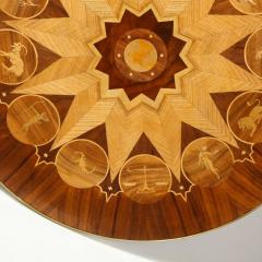 Midcentury Bookmatched Walnut Elm Cocktail Table with Zodiac Themed Marquetry - 1866297