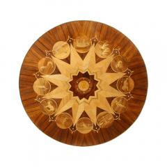 Midcentury Bookmatched Walnut Elm Cocktail Table with Zodiac Themed Marquetry - 1866300
