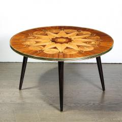 Midcentury Bookmatched Walnut Elm Cocktail Table with Zodiac Themed Marquetry - 1866308
