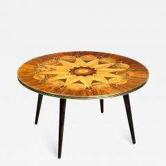 Midcentury Bookmatched Walnut Elm Cocktail Table with Zodiac Themed Marquetry - 1873491