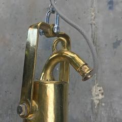 Midcentury German Copper Cast Brass and Glass Industrial Marine Pendant Light - 1001180