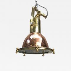 Midcentury German Copper Cast Brass and Glass Industrial Marine Pendant Light - 1002030