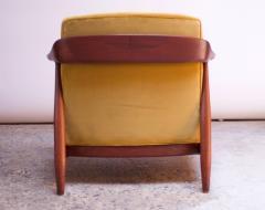 Midcentury Italian Modern Sculpted Walnut and Ochre Velvet Lounge Chair - 1114025
