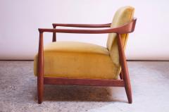Midcentury Italian Modern Sculpted Walnut and Ochre Velvet Lounge Chair - 1114026