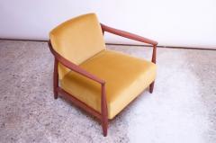 Midcentury Italian Modern Sculpted Walnut and Ochre Velvet Lounge Chair - 1114029