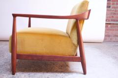 Midcentury Italian Modern Sculpted Walnut and Ochre Velvet Lounge Chair - 1114032