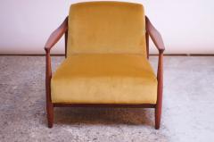 Midcentury Italian Modern Sculpted Walnut and Ochre Velvet Lounge Chair - 1114033