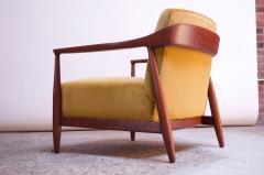 Midcentury Italian Modern Sculpted Walnut and Ochre Velvet Lounge Chair - 1114037