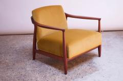 Midcentury Italian Modern Sculpted Walnut and Ochre Velvet Lounge Chair - 1114038