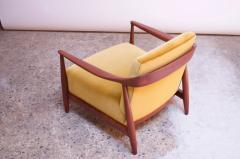 Midcentury Italian Modern Sculpted Walnut and Ochre Velvet Lounge Chair - 1114039