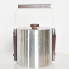 Midcentury Modern CULTURA Ice Bucket Stainless Steel w Walnut Wood Sweden 1960s - 1544347