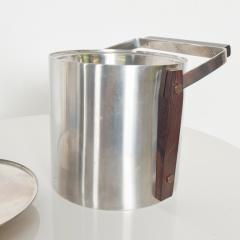 Midcentury Modern CULTURA Ice Bucket Stainless Steel w Walnut Wood Sweden 1960s - 1544354