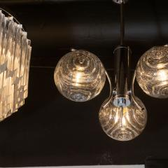 Midcentury Organic Modern Smoked Clear Textured Three Globe Chrome Chandelier - 1459759